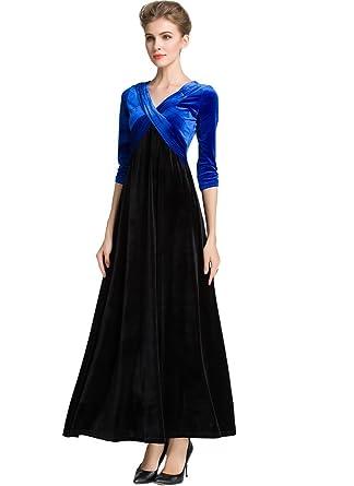 Medeshe Womens Velvet Formal Dress Uk 6/8 Royal Blue