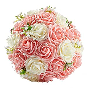 SISJULY Lace Pearl Rose Holding Wedding Bridesmaid Bouquet with Flower 20