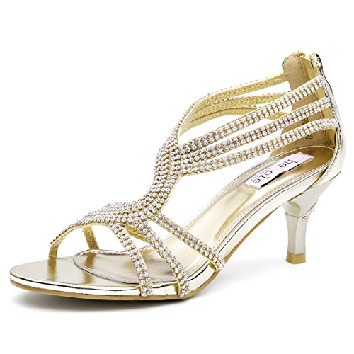 SheSole Womens Metallic Low Heels Sandals Rhinestones Evening Bridal Party Dance Shoes Gold US 7