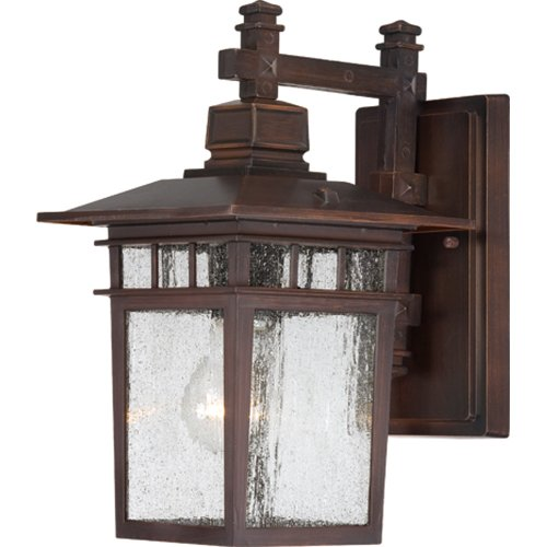 - Nuvo Lighting 60/4952 Cove Neck One Light Wall Lantern/Arm Down 100 Watt A19 Max. Clear Seeded Glass Rustic Bronze Outdoor Fixture