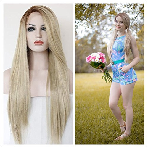 Price comparison product image Probeauty Ombre Blonde Brown Root Lace Front Hair Wigs Natural Straight Party Costume Wig