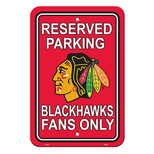 NHL Authentic Reserved Parking Sign Chicago Blackhawks 12 x 18 Inch