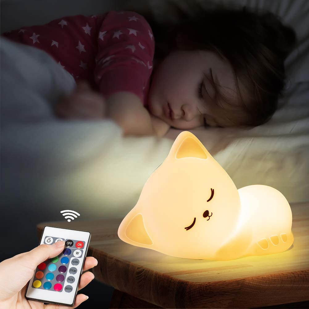 Cute Kitty Night Light with Remote Control,Rechargeable Nursery Animal Nightlight for Kids Baby Toddler,Kawaii Led Cat Squishy Lamp,Glow Lights Room Decor Stuff,Teen Girls Boys Child Valentine Gifts