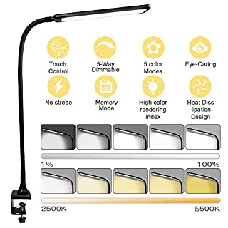 Swing Arm LED Desk Lamp, ADDIE Flexible Gooseneck Architect Table Lamp with Clamp, 1000 Lumens Super Bright with 5 Lighting Modes and 5 Brightness Levels, Touch Control, Eye-caring Office Lamp - Black
