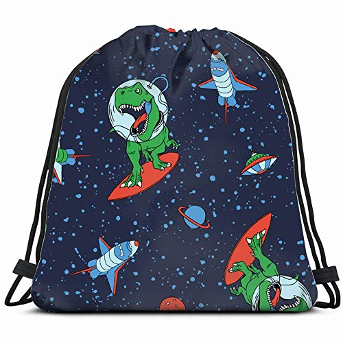 Vintage Wallpaper Print Shirt - astronautsaur pattern funny animals wildlife the arts 3D Print Drawstring Backpack Rucksack Shoulder Bags Gym Bag 17X14 Inch