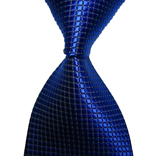 KissTies Royal Blue Solid Tie Grid Pattern Necktie + Gift Box
