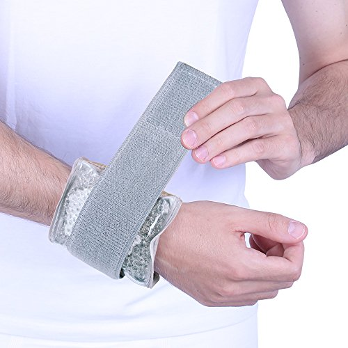 Newgo Wrist Ice Wrap Hot Cold Gel Beads Therapy Pack Reusable & Flexible with Velcro Straps & Soft Cloth Backing Case Cover