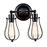 Industrial Wall Light Adjustable Socket Rustic Wire Metal Cage Sconces Retro Wall Lamp Indoor Home Vintage Lighting Fixture (2-Light Lamp-Base Painted with Modern Black)