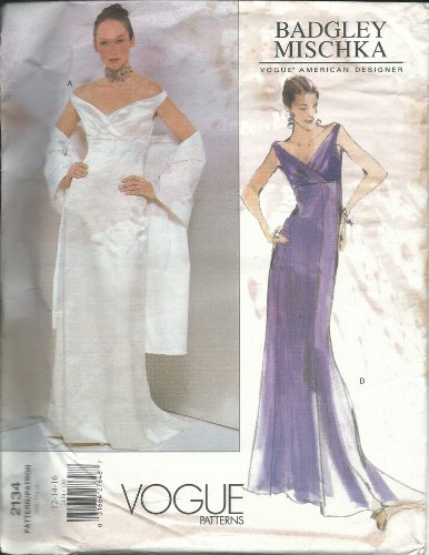 Vogue 2134 Sewing Pattern Misses Badgley Mischka Design Even Gown Size 12-16