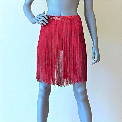 1ddf9b80 Amazon.com: red sequin fringe belt, red festival fringed skirt, Coachella  Burning Man Festival outfit overskirt, gypsy hippie skirt, beach cover up:  ...