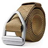 JASGOOD Men's Nylon Military Style Casual Army Outdoor Tactical Webbing Buckle Belt (waist size below 40 inch, 03-New Khaki 125)