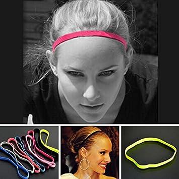 dde73c2e17d 12 PCS Yoga Hair Bands Sports Headband Anti-slip Elastic Rubber Sweatband  Football Yoga Running Biking Headscarf Hairband Multicolor by MAARYEE  ...