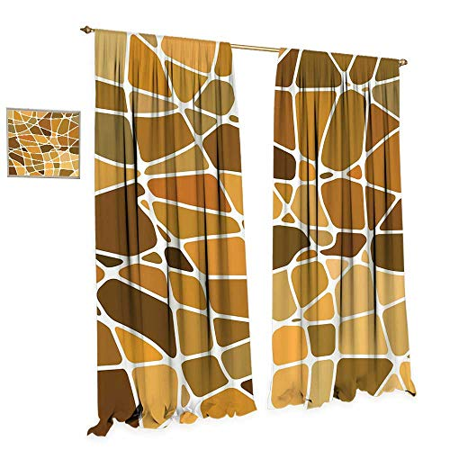 arkening Wide Curtains Stained Glass Style Mosaic with Colorful and Abstract Pieces Fractal Pattern Decor Curtains by W72 x L84 Multicolor ()