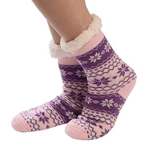 (Seaintheson Christmas Cotton Socks Women, Women's Fleece Lining Fuzzy Soft Xmas Knee Highs Stockings Slipper Socks)