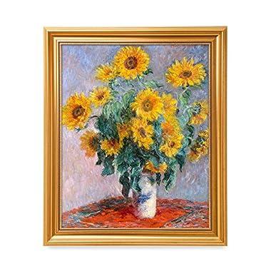 DecorArts - Monet Sunflowers, Claude Monet Art Reproduction. Giclee Print& Museum Quality Framed Art for Wall Decor.