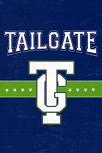 Monogram - Game Day - Blue and Green - Tailgate (12x18 SIGNED Print Master Art Print w/Certificate of Authenticity - Wall Decor Travel Poster)