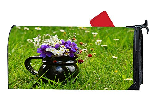 (Flower Meadow Bouquet Wildflowers Personalized Mailbox Covers Magnetic,Vinyl Mailbox Makeover Covers Fit Standard Sized 6.5