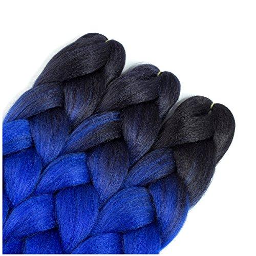 - Jumbo Braiding Hair 3packs blue hair extensions for braiding ombre braids hair blue Kanekalon Braiding hair High Temperature Fiber Crochet Twist Braids (3packs, T1b/blue)