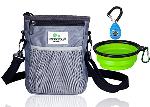 EcoCity Upgrade Version Dog Treat Pouch for Training - Built-in Poop Bag Dispenser, Perfect Carries Pet Toys, Treats - 3 Ways to Wear