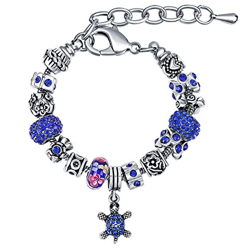 Diy Fashion Designer Costume (MANBARA Sea Turtle Women's Charm Bracelet Sapphire Color)