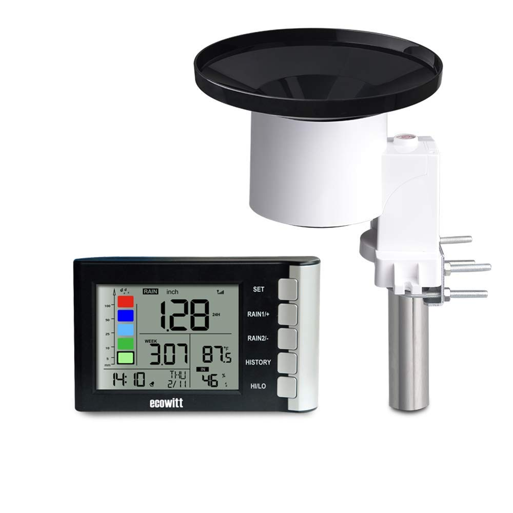 ECOWITT WH5360B High Precision Digital Rain Gauge Wireless Self-emptying Collector with Rainfall Alert Rainfall History Indoor Temperature Humidity