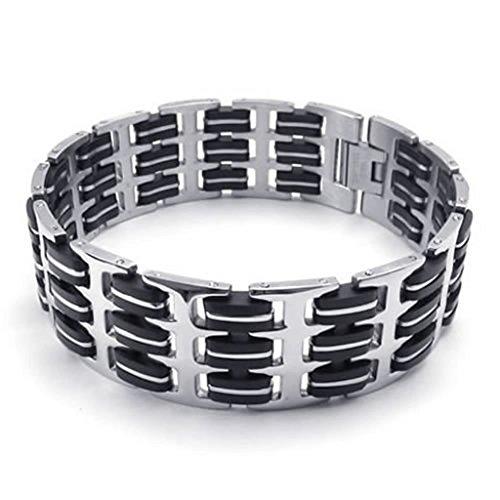 Epinki Stainless Steel Bracelet, Mens Biker Link Bracelet Silver Length 8.5 (Diy 80s Costume Pinterest)