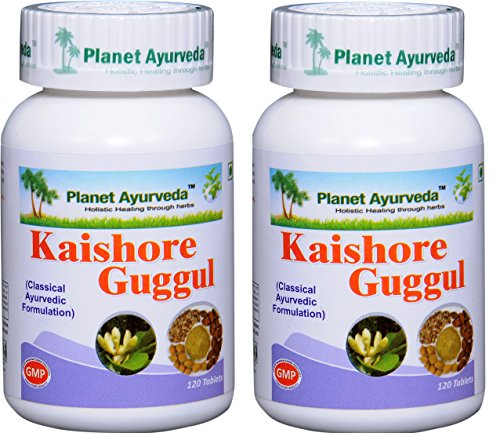 Planet Ayurveda Kaishore Guggul - Herbal Tablets, 100% Natural - 2 Bottles (Each Bottle contains 120 tablets) by Planet Ayurveda