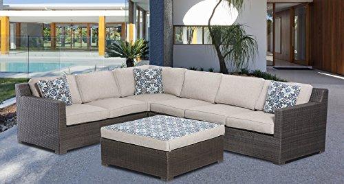 Hanover Metropolitan 5-Piece Outdoor Lounge Set, Silver Lining - Metropolitan Patio Furniture