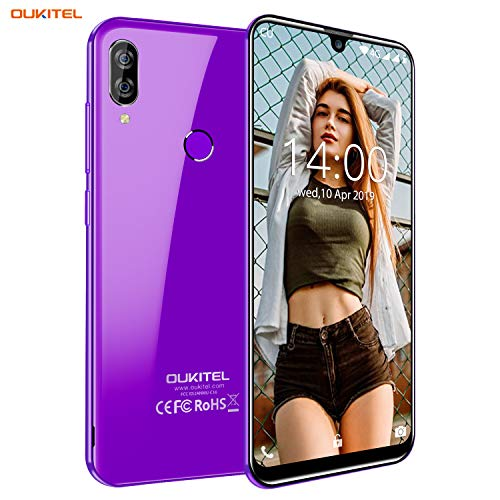 Unlocked Smartphone OUKITEL C16 (2019), Global 3G 5.71 inch Water Drop Screen, Face ID Android 9.0 Unlocked Cell Phones Dual SIM 2GB+16GB Dual Camera 8MP+2MP-Purple