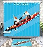 Amavam Bathroom 2-Piece Suit Canoe Double Summer Games Isometric 3D Illustration Illustration Shower Curtains And Bath Mats Set, 79'' Wx71 H & 31'' Wx20 H