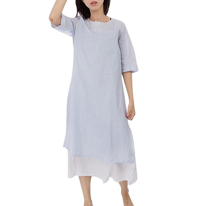 Vestiti Lungo Donna Elegante LandFox Sexy Abito da Donna Casual in Cotone da  Ricamo Plus Size fea01079ae6