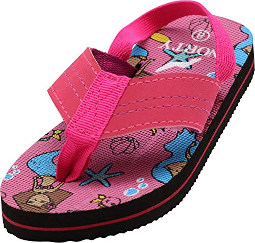 NORTY - Toddler Girls Mermaids Print Sling Back Flip Flop Sandal, Pink 41058-6MUSToddler