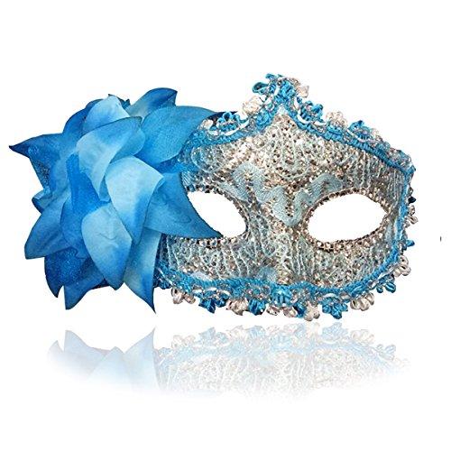 Masquerade Mask for Women Venetian Masks Christmas Women Flower Half-face Masks Eye mask Cosplay Lace mask (Blue)