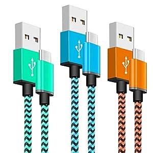 Yosou Cable USB Tipo C [3 Pack 1m] - Cable Cargador de Nylon, Carga Rápida, para Samsung Galaxy S10/S9/S8/A20/A40/A50/A70, Huawei P9/P10/P20/P30, ...
