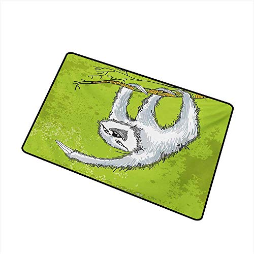 BeckyWCarr Sloth Front Door mat Carpet Smiling Sloth Clutches Hanging on a Branch Habitat Wildlife Machine Washable Door mat W31.5 x L47.2 Inch,Pale Grey Green White