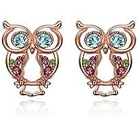 iCAREu Rose Gold Plated Colorful Czechic Diamond Owl Stud Earrings for Women, Girls