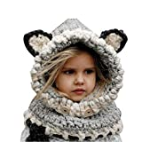 Honeststar Baby Kids Warm Winter Hat Crochet Knitted Caps Scarves Cute Beanies Ear Warmers Cartoon Fox Rabbit Bear Wolf Cloak Woolen Cap Coat Set