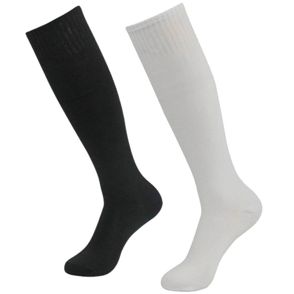 Getspor Athletic Football Baseball Socks, Unisex Knee-High Sport Running Tube Socks, White/Black 2 Pairs by Getspor