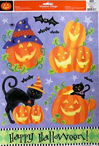 11.75' Art Print Poster (Halloween Themed Pumpkin Black Cat Window Clings - 17'' x 11.75'')