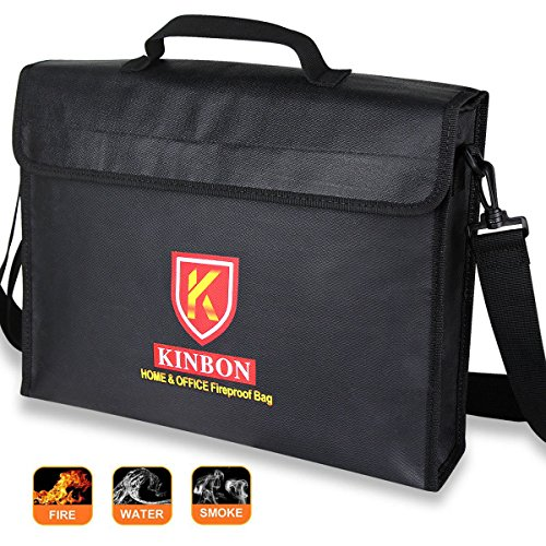 Fireproof Bag, KINBON Fireproof Waterproof Document Money File Bag Pouch (15''x11''x3'') with Non-Itchy Silicone Coated Fiberglas, Fireproof Safe Storage for Document Cash Passport Bank Card Valuables by KINBON