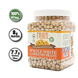 Pride Of India - Indian Whole White Garbanzo Beans 10mm - Protein & Fiber Rich Kabuli Chana, 1.5 Pound Jar