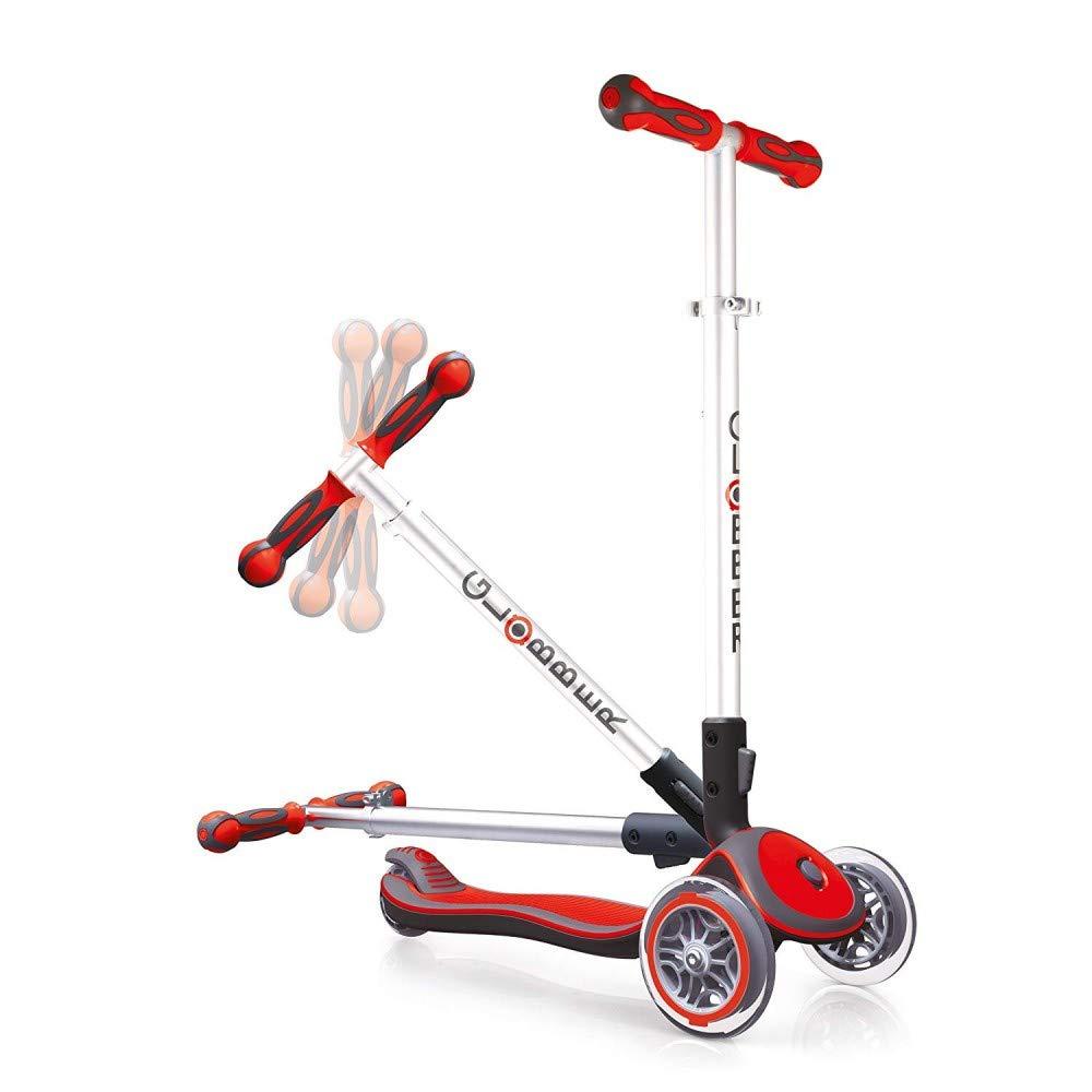 Globber Elite 3 Wheel Folding Adjustable Height Scooter Red
