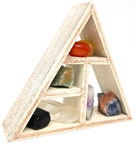 CHAKRA Crystals and Healing Stones and Grid Shelf Set holder kit in Gift Box / Third eye Energy Reiki 7 chakras tumbled
