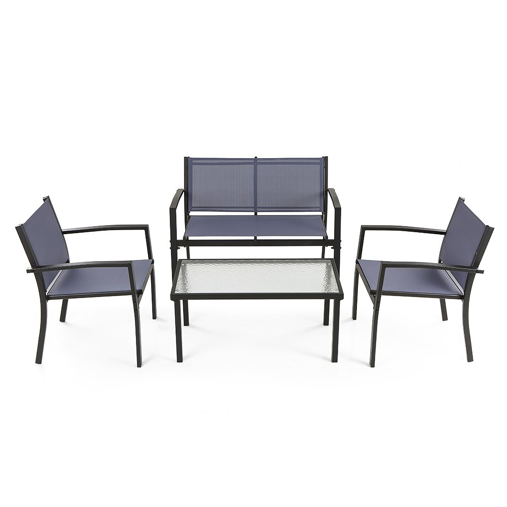 iKayaa 4PCS Outdoor Patio Furniture Set Tempered Glass Table, Loveseat Chairs Steel Frame