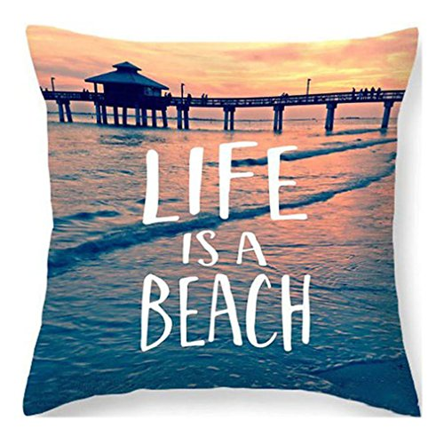 PSDWETS Home Decor the Beach is My Happy Place Pillow Covers Set of 4 Cotton Linen Beach Decor Throw Pillow Case Cushion Cover 18 X 18