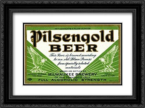 Pilsengold Beer 2X Matted 24x18 Black Ornate Framed Art Print by Vintage Booze Labels - Pilsengold Beer