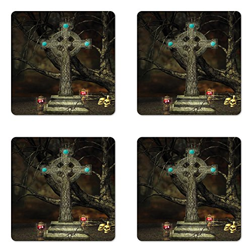 Lunarable Gothic Coaster Set of Four, Gothic Cross Tree Grave Skulls and Tombstone Lanterns Graveyard Night Art, Square Hardboard Gloss Coasters for Drinks, Olive Green Aqua ()