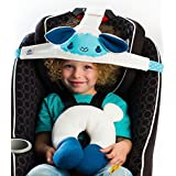 NoBob Child Car Seat Head Support & Travel Pillow, Safe and Cozy Sleep Solution for Cars, Lamb, High Back Booster, Blue/Blue
