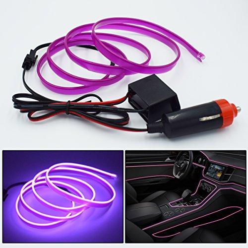 MICRO-P Car interior atmosphere lights Panel Gap Neon Lamp Strip Cold EL 79 inch (Violet, 2 (Violet Trim)