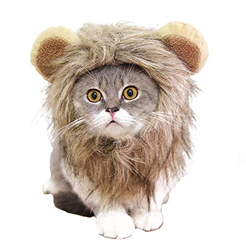 Halloween Cat Lion Mane Wig Costume Christmas Little Dog Lion Hair Adjustable Washable Funny Pet Puppy Dress Up Hat Cute Kitten Kitty Hair Mane with Ears for Holiday Photo Shoots Cospaly Party Size M